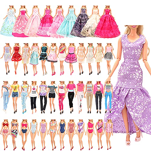 Miunana 21 Accesorios Seleccionados Al Azar para 11.5 Pulgada 30CM Muñeca: 5 Vestidos de Moda + 5 Blusas + 5 Pantalones + 3 Vestidos De Novia + 3 Trajes De Baño