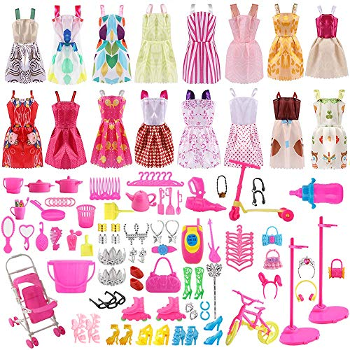 ASANMU Accesorios para Muñecas Dolls, Ropa y Zapatos para Dolls, Complementos Dolls Mini Vestidos de Moda para Dolls, Perchas y Accesorios de Cocina Regalo de Cumpleaños Niñas (130 Piezas)
