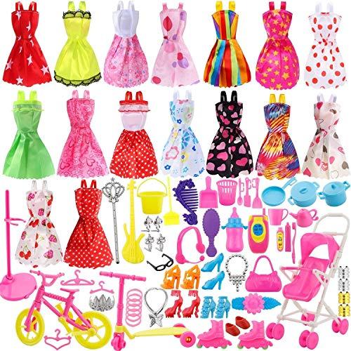 Harxin 116 pcs Accesorios para Muñecas Dolls,Ropa y Zapatos para Dolls, 16pcs Mini Vestidos de Moda para Dolls + 98 Accesorio + 2pcs Pegatina (Multicolor)