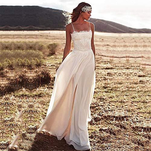 QIUXIANG Vestido de novia mujer Playa Vestidos elegante de gasa de Boho Mujeres largo de boda atractivo tirantes de encaje vestidos de boda vestido de novia de la princesa
